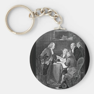 Drafting the Declaration of Independen_War Image Basic Round Button Keychain