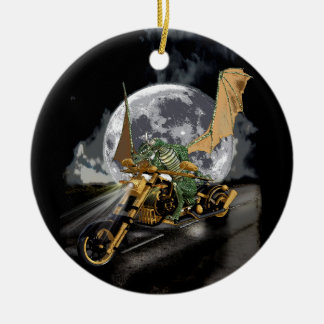 Drag-racing Dragon and Moon Fantasy Artwork Ceramic Ornament