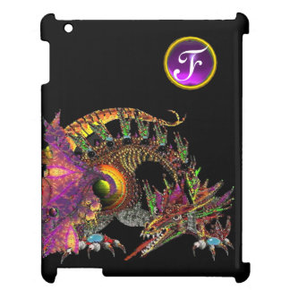DRAGO,FANTASY DRAGON,PURPLE GEMSTONE MONOGRAM iPad CASES