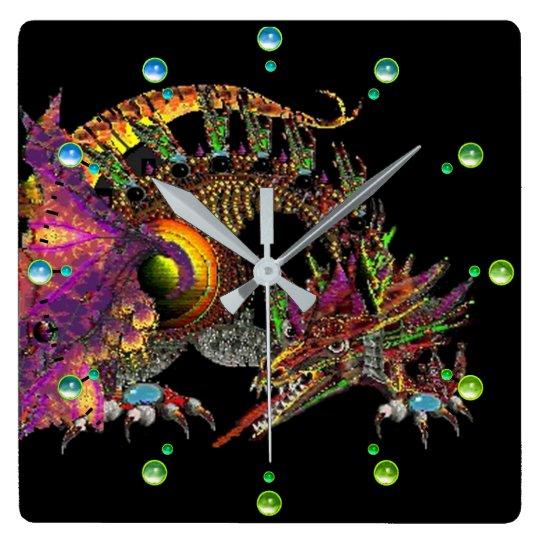 DRAGO /Fantasy Gold Dragon Black Blue Green Gems Square Wall Clock