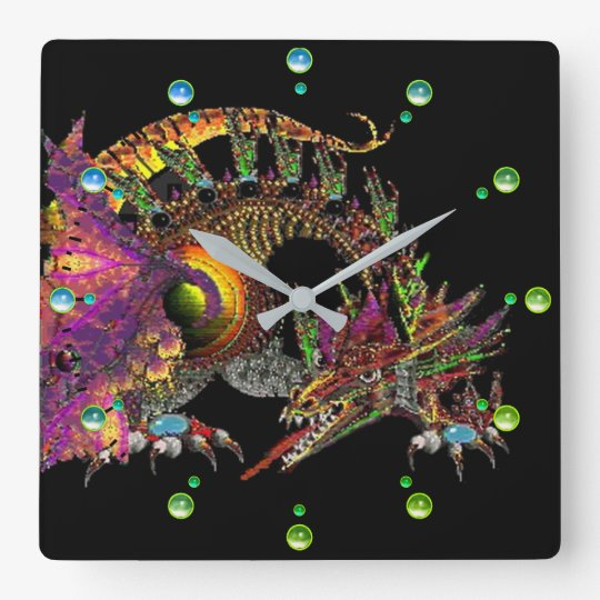 DRAGO /Fantasy Gold Dragon Black Blue Green Gems Wallclocks
