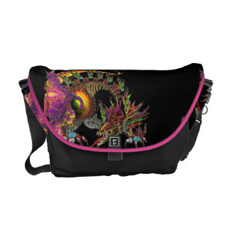 DRAGO,FANTASY GOLD DRAGON IN PINK PURPLE AND BLACK MESSENGER BAGS