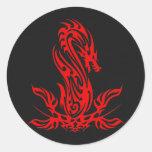 Dragon 19 red oil round sticker