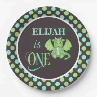 Dragon 1st Birthday Plates Personalized