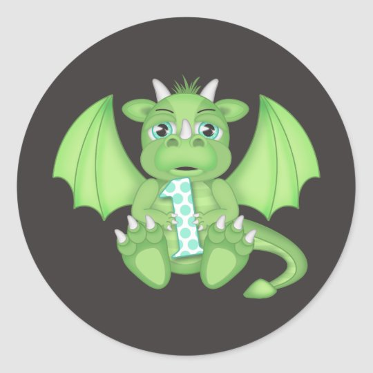 Dragon 1st Birthday Round Stickers