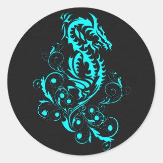 Dragon 20 cyan classic round sticker