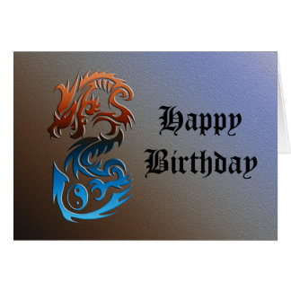 Dragon 2 Yin Yang blue bronze Card