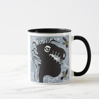 Dragon and bee 15oz. black handle mug