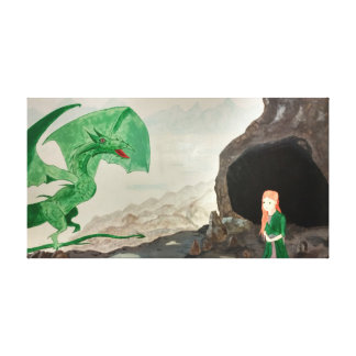 Dragon and girl fantasy canvas print