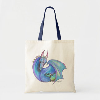 Dragon and Hatchling Mother Child Father Lizard Tote Bag