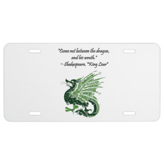 Dragon and His Wrath Shakespeare King Lear Cartoon License Plate