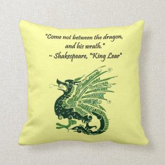 Dragon and His Wrath Shakespeare King Lear Cartoon Throw Pillow