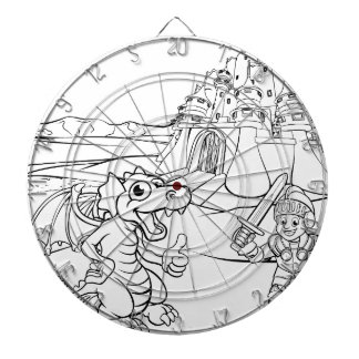 Dragon and Knight Castle Cartoon Dartboard