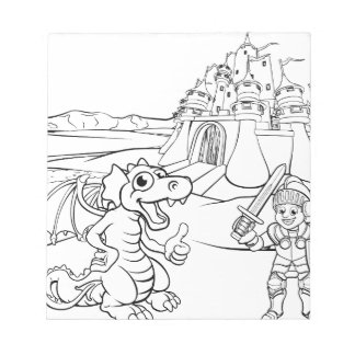 Dragon and Knight Castle Cartoon Notepad