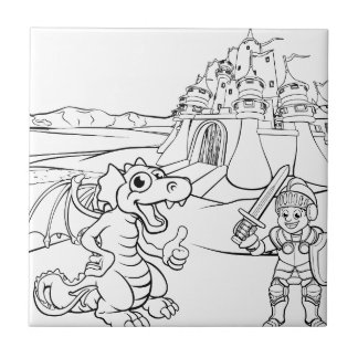 Dragon and Knight Castle Cartoon Tile