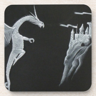 Dragon and Mountain Castle Drink Coasters