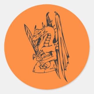 Dragon and Sword Classic Round Sticker