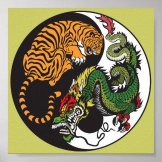 dragon and tiger yin yang symbol poster
