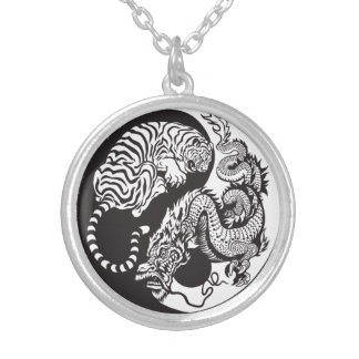 dragon and tiger yin yang symbol silver plated necklace