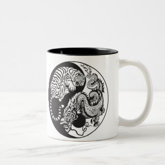 dragon and tiger yin yang symbol Two-Tone coffee mug