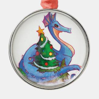 Dragon autour de l'arbre de Noël Ornement Rond Argenté