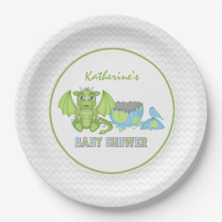 Dragon Baby Shower Paper Plate