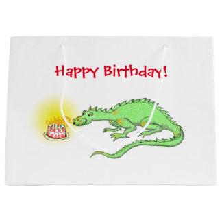Dragon birthday cake large gift bag