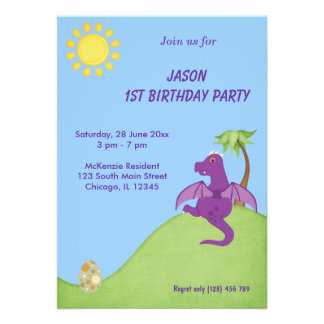 Dragon Birthday Party Announcements