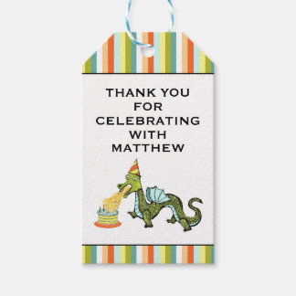 dragon birthday thank you gift tags