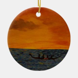 Dragon Boat Race Round Ceramic Ornament