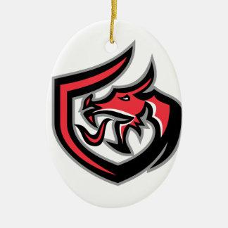 Dragon Breathing Fire Side Shield Retro Ceramic Ornament