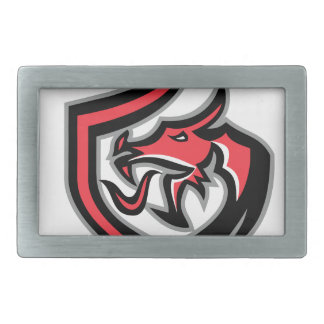 Dragon Breathing Fire Side Shield Retro Rectangular Belt Buckle