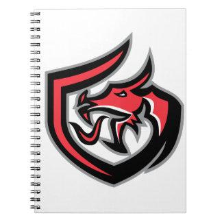 Dragon Breathing Fire Side Shield Retro Spiral Notebook