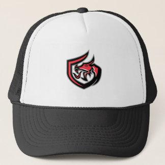 Dragon Breathing Fire Side Shield Retro Trucker Hat