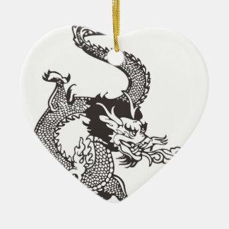 Dragon Ceramic Heart Ornament
