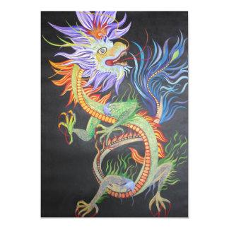 Dragon chinois carton d'invitation  12,7 cm x 17,78 cm