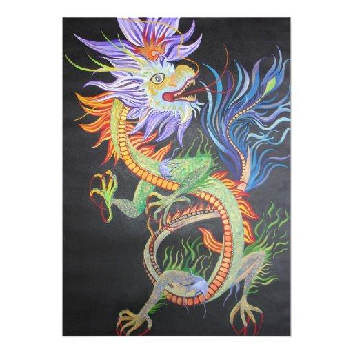 Dragon chinois invitations personnalisées