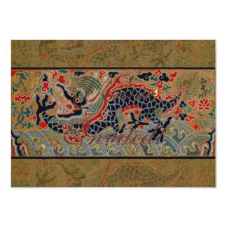 Dragon chinois vintage carton d'invitation  11,43 cm x 15,87 cm