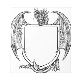 Dragon Crest Coat of Arms Shield Heraldic Emblem Notepad