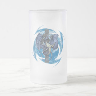 Dragon Cross - Frosted Glass Stein Coffee Mugs
