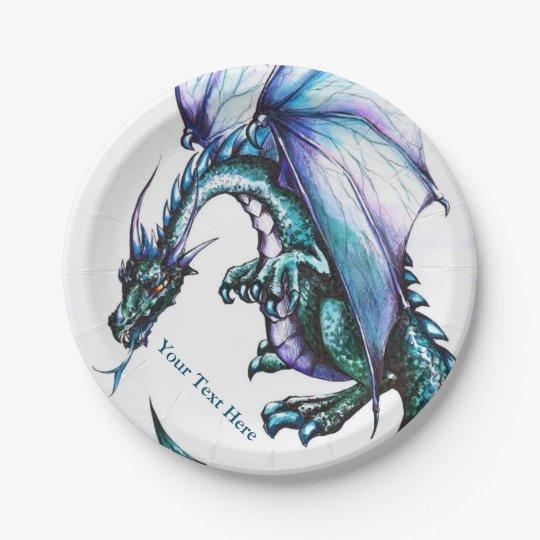 "Dragon Custom Design Paper Plates 7"" 7 Inch Paper Plate"