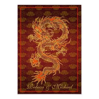 Dragon de rouge de chinois traditionnel carton d'invitation  12,7 cm x 17,78 cm