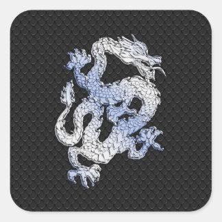 Dragon de style de chrome dans la copie noire de sticker carré