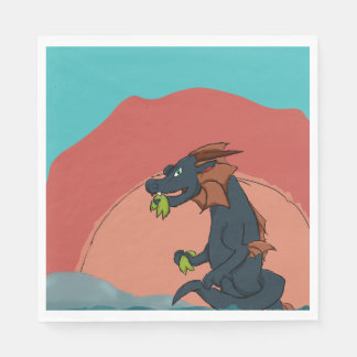Dragon Eating in Sunset Paper Napkin