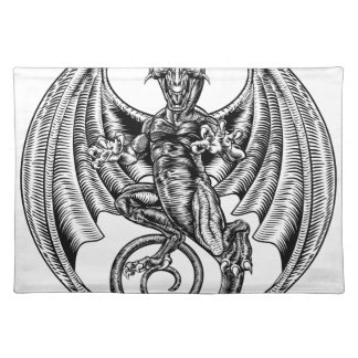 Dragon Engraved Etching Woodcut Style Placemat