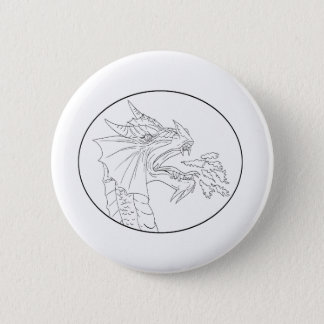 Dragon Fire Circle Drawing 2 Inch Round Button