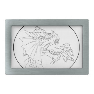 Dragon Fire Circle Drawing Belt Buckles