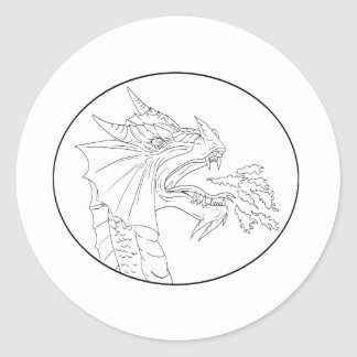 Dragon Fire Circle Drawing Classic Round Sticker