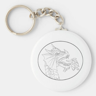 Dragon Fire Circle Drawing Keychain