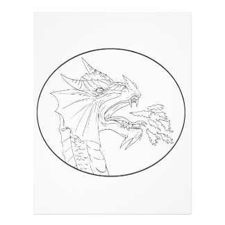 Dragon Fire Circle Drawing Letterhead